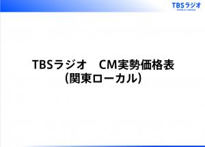 TBSラジオ CM実勢価格表(関東ローカル)