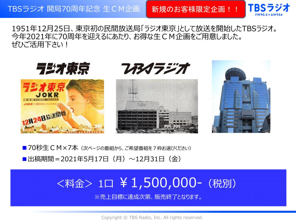 TBSラジオ開局70周年記念 特別生CM企画
